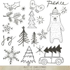 Items similar to Rustic Christmas Cliparts on Etsy Christmas Doodles, Christmas Drawing, Christmas Clipart, Rustic Christmas, Christmas Art, Winter Christmas, Christmas Ornaments, Xmas, Christmas Window Decorations