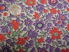 """Vintage Antique Cotton Quilt Doll Fabric Print 20s Remnant Purple Tulips 17x14"""""""