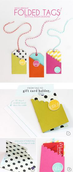 Easy folded gift-card tags, by Amber at Damask Love: http://www.damasklove.com/modern-bright-easy-gift-card-tags/