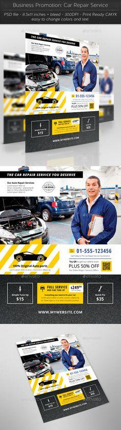 Business Promotion: Car Repair Service Flyer Template #design Download: http://graphicriver.net/item/business-promotion-car-repair-service/11417233?ref=ksioks
