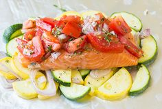 """""""salmon and squash foil packets"""" (Tasty idea, and easy clean up. Could use any veggie/fish.)"""
