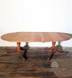 Classic Regency Style Dining Table / Regency 2 Pedestal 1 Leaf Dining Table / Dutch Connection