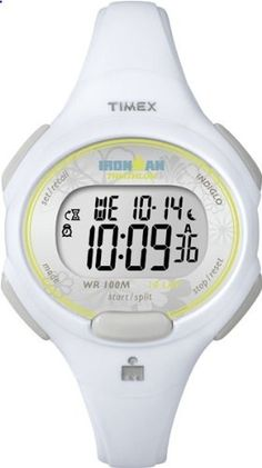 Timex Women's T5K606 Ironman Traditional Sport Watch with White Resin Strap. Go to the website to read more description.