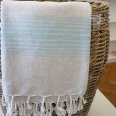 Hamamtuch Leinen türkis - handgewebt und vorgewaschen
