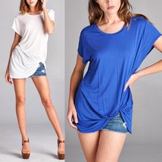 ELLIE side knot short sleeve top - BLUE Super comfy & breathable top. PRICE FIRM ONLY BLUE AVAILABLE Bellanblue Tops Blouses