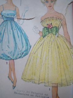 Vintage 1950s Simplicity 2960 Prom Dress Sewing by FoxVintageUk, £17.98