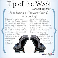 Tip of the Week: Rear facing or forward facing? Rear facing!!! for as long as possible.