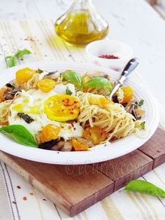 Angel Hair Pasta with Mushroom, Basil and Fried Egg