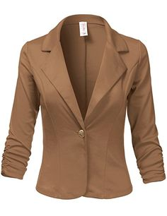 Plus Size 3/4 Shirring Sleeve One Button Comfortable Blazer
