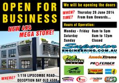 Open For Business! The NEW Superior Engineering 4X4 Mega Store is NOW OPEN.  We will be opening the doors tomorrow morning Thursday 26th June 2014 from 8am.  Where: 1/116 Lipscombe Road Deception Bay Queensland 4508.  Hours of operation: Monday to Friday 8am to 5pm, Saturday 8am to 12pm and Sunday Closed.  #4x4 #suspension #offroad #4wd
