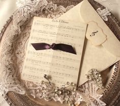 Charming Reserved For Diane Meyer   5 Wedding Invitations With Custom Sheet Music