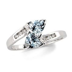 Trilliion Cut Aquamarine Bypass Ring in 10K White Gold with Diamond Accents - View All Rings - Zales