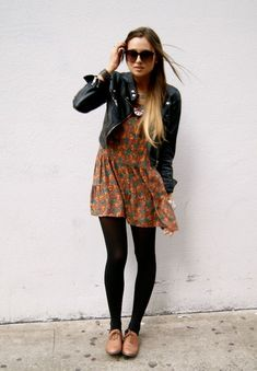 dress, tights, oxfords, leather jacket... I would rock booties, but definitely cute!