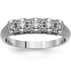 14K White Gold Womens Five Stone Diamond Anniversary Ring 0.25 Ctw