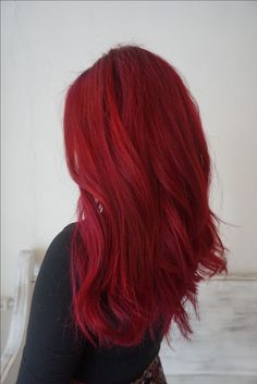 Bright red hair using the pravanna orchid and red hair color . - Bright red hair using the pravanna orchid and Joico red hair color, - Bright Red Hair Dye, Dyed Red Hair, Ombre Hair, Dying Hair Red, Bright Coloured Hair, Bright Red Highlights, Vibrant Red Hair, Bright Hair Colors, Hair Colours
