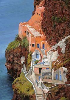 ღღ Another beautiful piece of Art by Guido Borelli    ~~~~ sul mare Greco Painting - sul mare Greco Fine Art Print - Guido Borelli