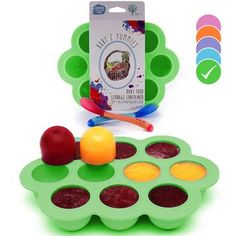 USA Standard BPA Free  Homemade Baby Food  Frozen Breastmilk Freezer Storage Silicone Tray  Cover Lid  15oz Portion Containers Cups  Bonus 2 WhiteHot Spoons  Makes a Great Gift  Green ** You can find out more details at the link of the image. (This is an affiliate link and I receive a commission for the sales) #BabyFoods