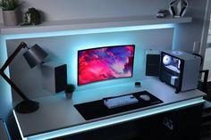 Bedroom Gaming Setup, Gaming Desk Setup, Gamer Setup, Computer Workstation, Pc Setup, Hobby Desk, Clean Desk, Game Room Design, Workspace Design
