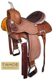 """Tahoe Desert Rose Barrel Racer Western Horse Saddle Hand Tooled 14.5"""" or 15.5"""" HOPEFULLY! My new saddle!!"""