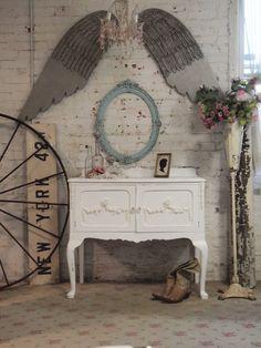 Cottage Chic Shabby White Romantic Server / Buffet