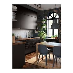 IKEA - ODGER, Chair, blue, Comfortable to sit on thanks to the bowl-shaped seat and rounded shape of the backrest. Black Kitchens, Cool Kitchens, Black Ikea Kitchen, Kitchen Interior, Home Interior Design, Modern Kitchen Design, Kitchen Dining, Kitchen Remodel, Sweet Home