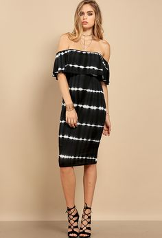 Tie Dyed Off The Shoulder Midi Dress $24.99