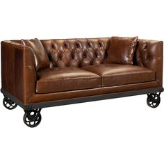 Mouille Industrial Loft Wheels Rich Brown Leather Sofa (€3.065) ❤ liked on Polyvore featuring home, furniture, sofas, chairs, decor, plush leather sofa, leather furniture, brown sofa, tufted furniture and industrial furniture
