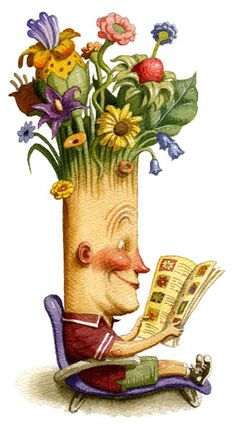 Floral reading / Lectura floral (ilustración de Peter Ferguson)