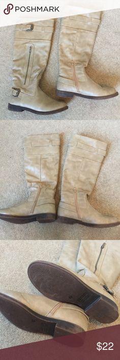 Tan Madden Girl Boots Side zippers. Dark brown heel. Madden Girl Shoes Heeled Boots