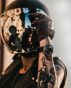 Good looking cafe racer scrambler Motorcycle Couple, Motorcycle Style, Biker Style, Motorcycle Outfit, Motorcycle Helmet, Lady Biker, Biker Girl, Fille Et Dirt Bike, Biker Photoshoot