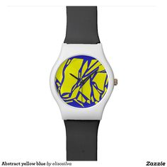 Abstract yellow blue relojes de pulsera