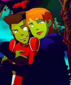 Beast Boy and Miss Martian, I like Miss Martian a lot more now, I like that she's not so naive and she takes care of her bro. I think she is mean to Superboy though.