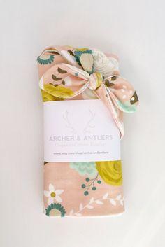 Organic cotton swaddle blanket vintage floral by ArcherandAntlers