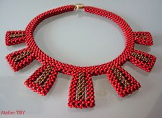 handmade bracelets, necklaces and Seed Bead Tutorials, Beading Tutorials, Beading Patterns, Red Necklace, Seed Bead Necklace, Beaded Necklace, Necklaces, Diy Jewelry, Beaded Jewelry