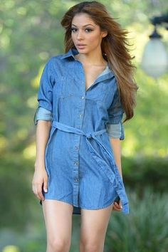 pas cher Mini Robes Bleu Boutonne Belted Denim Robe  #robejeans modebuy.com