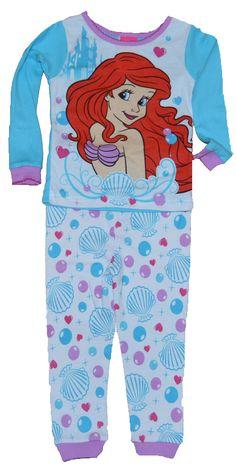 Ariel Little Mermaid Baby Toddler Girl Cotton Tight-fit Pajamas 2 Pc Set