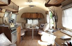 This is the interior of a '62 Bambi Airstream owned and decorated by Kristiana Trow Spaulding. www.silvertrailer.com