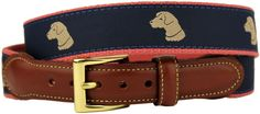 Pant's Best Friend Yellow Lab Leather Tab Belt in Navy by Country Club Prep #$50-to-$100 #32-(fits-size-30-pants) #34-(fits-size-32-pants)