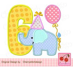 Birthday Elephant Number 6,  Baby Elephant with number 6, Birthday number applique -4x4 5x5 6x6 inch-Machine Embroidery Applique Design by CherryStitchDesign on Etsy