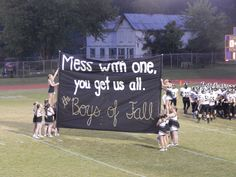SCHS at York Institute Mess with one you get us all the boys of - Hoco Shirts - ideas of Hoco Shirts - SCHS at York Institute Mess with one you get us all the boys of fall Football Spirit Signs, Football Game Signs, Football Cheer, High School Football, Football Posters, Football Season, High School Cheer, Sports Posters, Volleyball Players