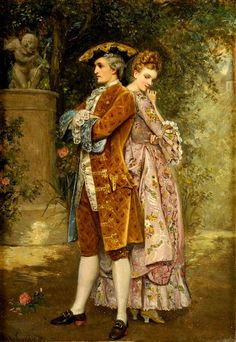Das Erste Rendezvous by Manuel Garay Arevalo (Spanish (The first date) Romantic Paintings, Classic Paintings, Old Paintings, Beautiful Paintings, Victorian Paintings, Victorian Art, Victorian Women, Vintage Art, Vintage Ladies
