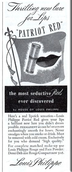 Vintage Lipstick ad from May 1941 Ladies Home Journal magazine - Patriotic Red