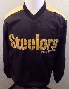 NFL Pittsburgh Steelers Pullover Embroidered Jacket Mens - Black Sz Medium NWOT #NFL #PittsburghSteelers