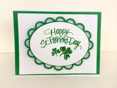 Cheerful handmade St. Patricks Day greeting card for your Irish friends and family. Layers of green and white cardstock are embossed and die cut with