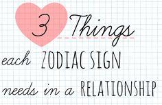 3 Things each zodiac sign needs in a relationship. The signs in love #astrology aries taurus gemini cancer leo virgo libra scorpio sagittarius capricorn aquarius pisces http://www.astrologymarina.com/2014/10/3-things-each-zodiac-sign-needs-in.html