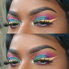 Since you guys weren't feeling the #featherbrows I decided to leave them out this time lol . Today's Makeup using NYX Ultimate Brights Palette + Vivid Halo eyeliner also from NYX. #me #makeupforblackwomen #makeupart #nyxvividbrights...