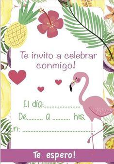 Invitaciones (flamenco) - $ 90,41 en Mercado Libre Flamingo Party, Flamingo Decor, Flamingo Birthday, Baby Showers, Family Birthdays, Ideas Para Fiestas, Diy And Crafts, Happy Birthday, Invitations