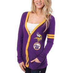 Minnesota Vikings Ladies Slub Button-Up Long Sleeve Cardigan - Purple