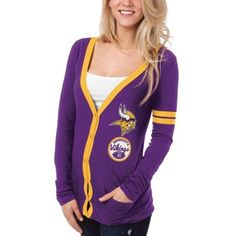 Minnesota Vikings Ladies Slub Button-Up Long Sleeve Cardigan - Purple