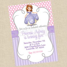 Printable DIY Sofia the First Princess Inspired by PartiesInBloom, $12.00